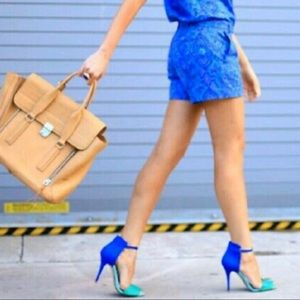 {Zara Collection by Basic}Blue & Green Suede Heels
